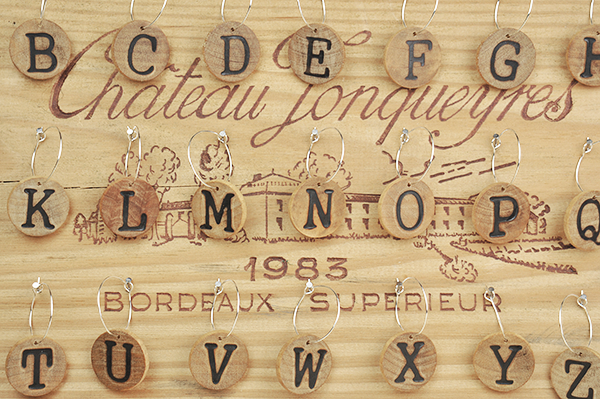 Wood alphabet wine charms