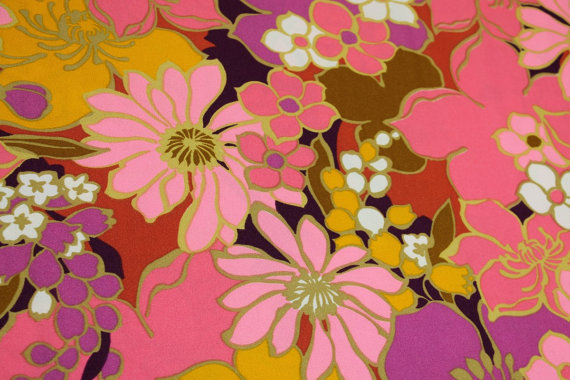 Bold patterns from the 60's like this amazing fabric from the mad4modvintage Etsy shop.