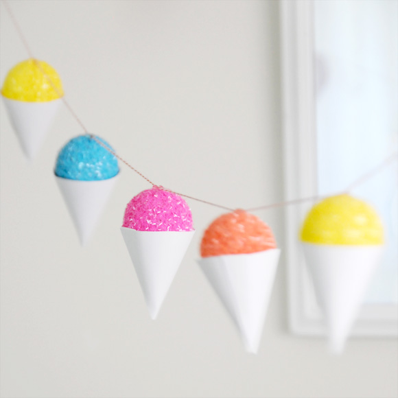 One of my favorite bloggers, Ez Pudewa of Creature Comforts, created this lovely snow cone garland. It might not feel cold, but sure looks cool!!